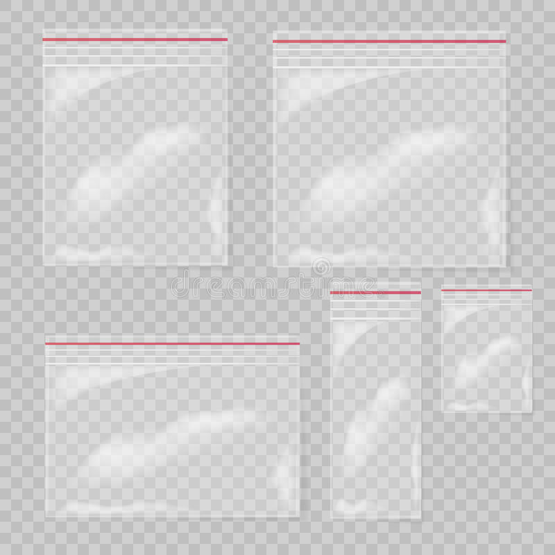 Plastic die zakreeks op transparante achtergrond wordt geïsoleerd Zakken van de inzamelings de Lege transparante plastic zak stock illustratie