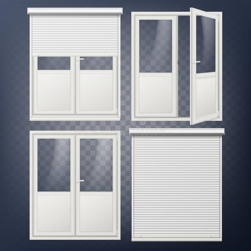 Plastic Door Vector. Modern White Roller Shutter. Opened And Closed ...