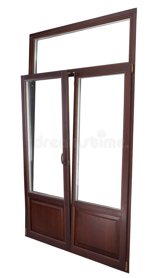 Plastic Double Glazing Window, color dark mahogany, tilted in v. European Tilt Turn window being opened in both directions, either tilted in vertically or stock photos