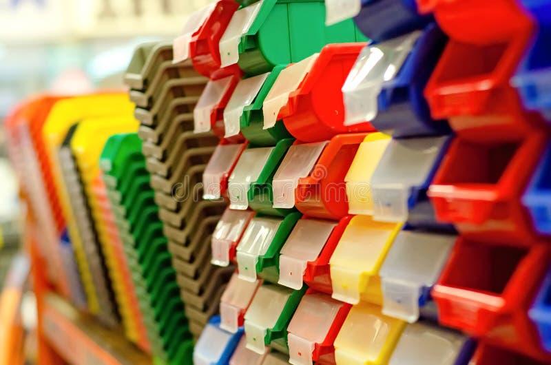 Plastic dozen voor de workshop royalty-vrije stock foto