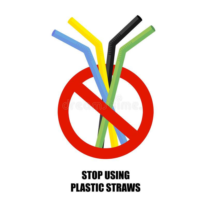 Plastic drinking straw. No plastic. Pollution problem. Environmental Protection. Say no to plastic products. Warning sign. Vector royalty free illustration