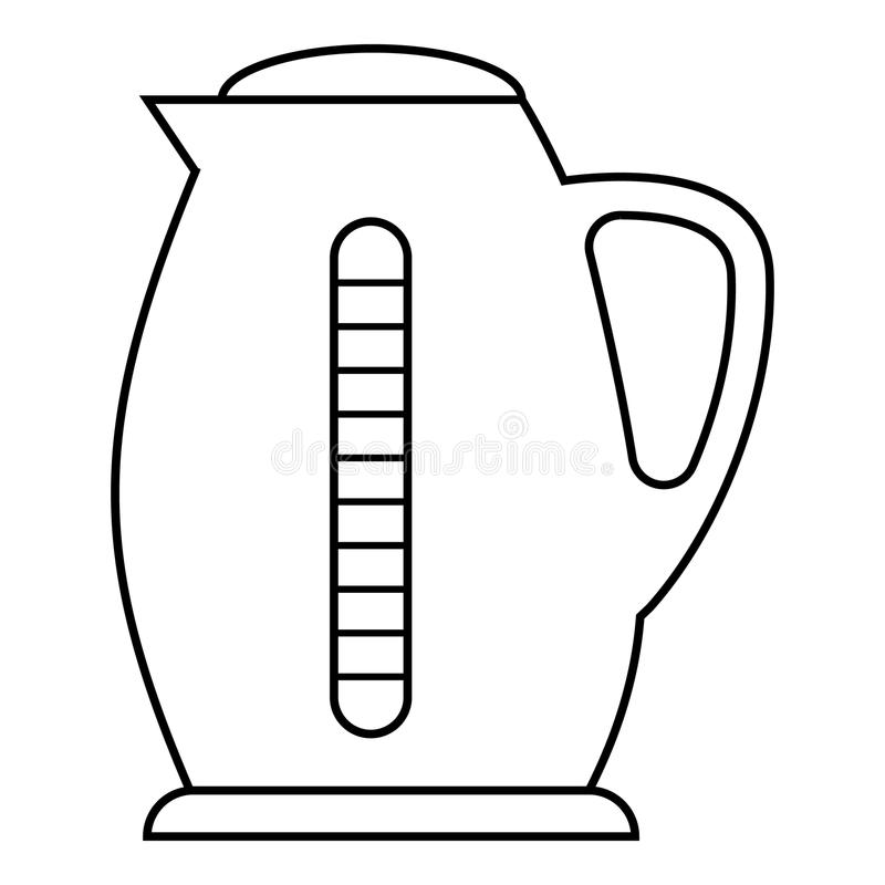 plastic electric kettle icon  outline style stock vector