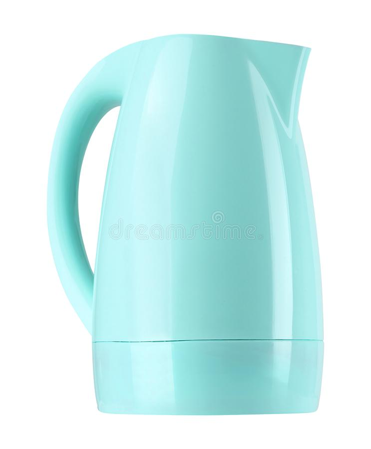 Plastic electric kettle isolated on white. Background stock photos
