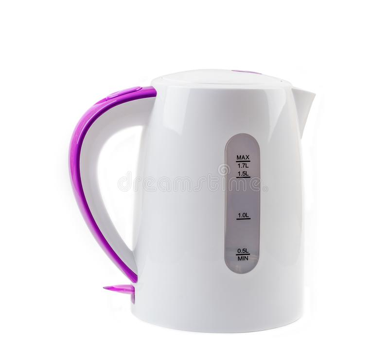 Plastic electric kettle isolated on white. Background royalty free stock image