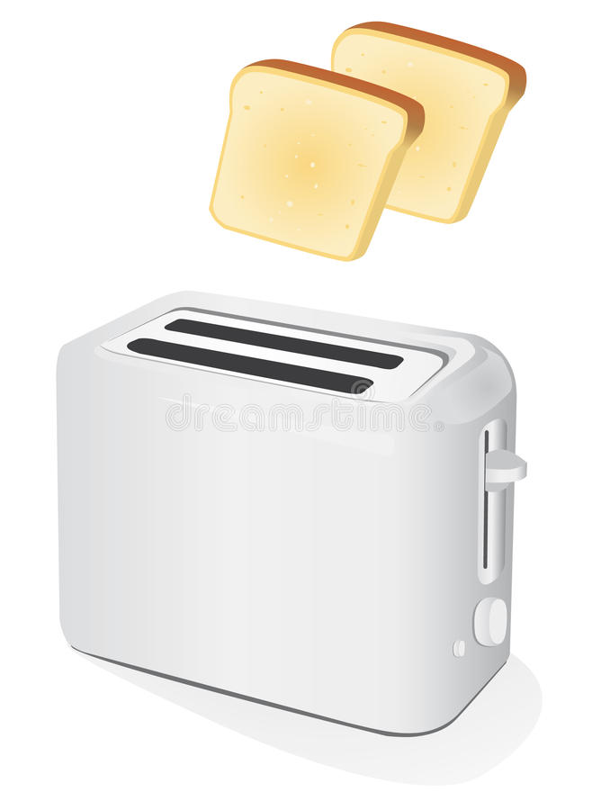 Plastic electric toaster with toast stock illustration