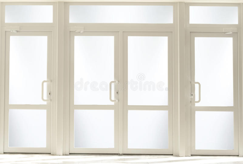 Plastic entrance doors with glass. Plastic entrance doors, Plastic entrance doors with glass royalty free stock image