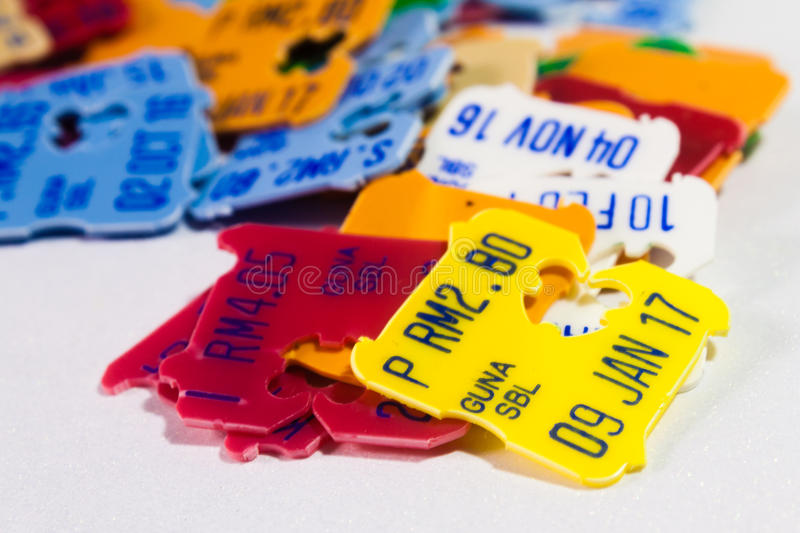 Plastic Expiry Date and Price Tags stock photo