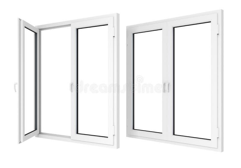 plastic fönster royaltyfri illustrationer