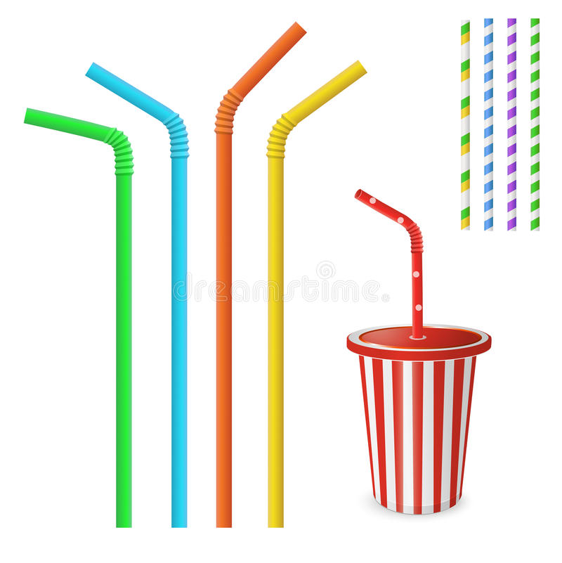 Plastic fastfood cup for beverages with straw. Straw for beverage. Striped and colorful straws. Drinking straws isolated on a white background. Plastic fastfood vector illustration