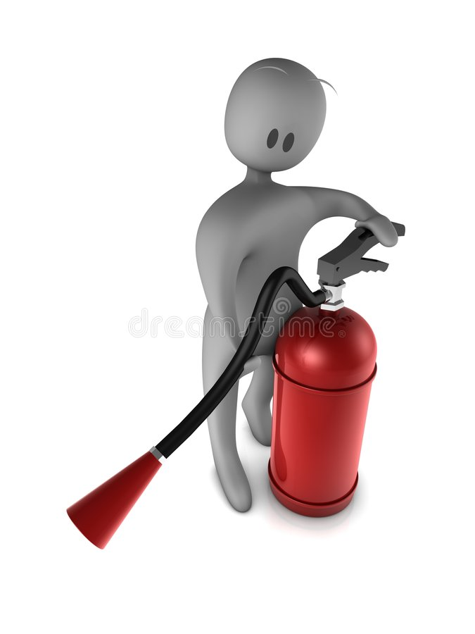 Plastic fellow. Uses fire extinguisher royalty free illustration