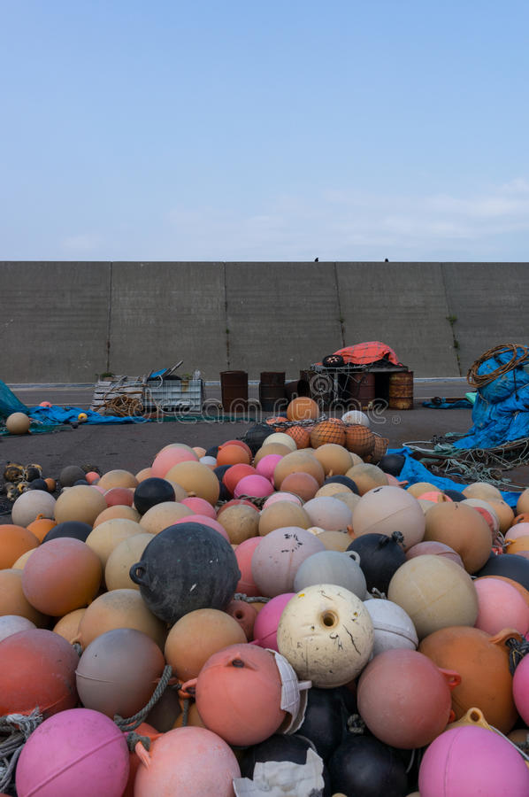 Plastic fishing floats. In a port. Taken in Shakotan, Japan royalty free stock photography