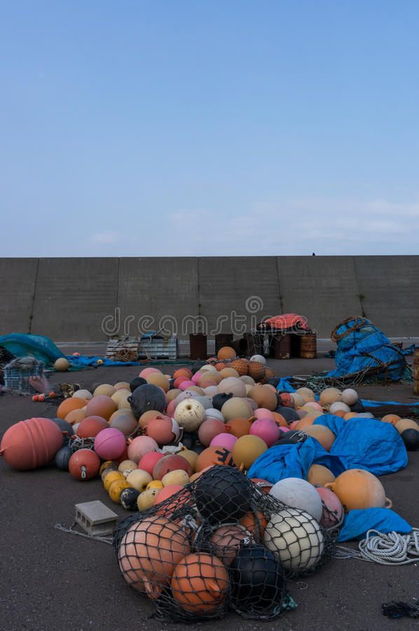 Plastic fishing floats. In a port. Taken in Shakotan, Japan stock photography