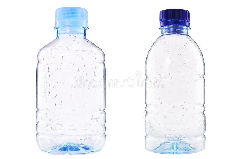 Plastic fles het water van de Daling royalty-vrije stock foto's
