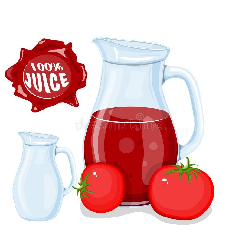 Plastic fles met rood kersenvruchtensap en glas sap of limonade Vlak Webpictogram Vector illustratie royalty-vrije illustratie