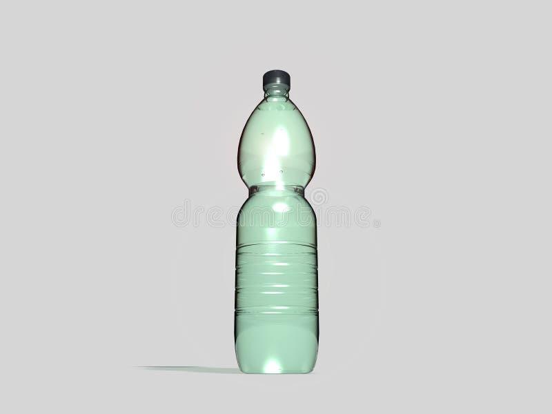 Plastic fles op grijze achtergrond stock illustratie