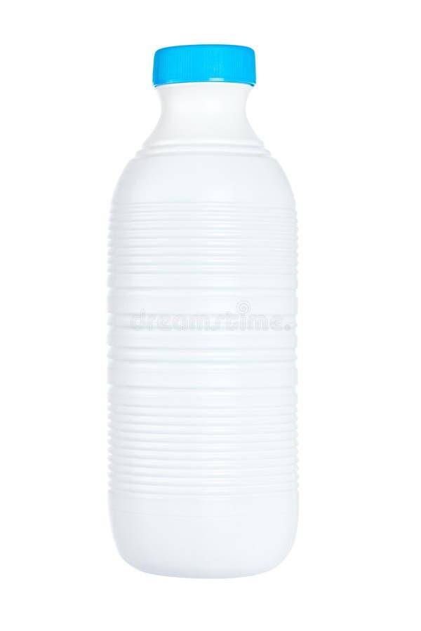 Plastic fles verse melk stock afbeelding