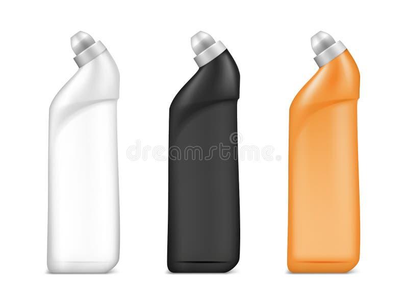 Plastic fles voor schoonmakende agent of wassende reinigingsmachine royalty-vrije illustratie