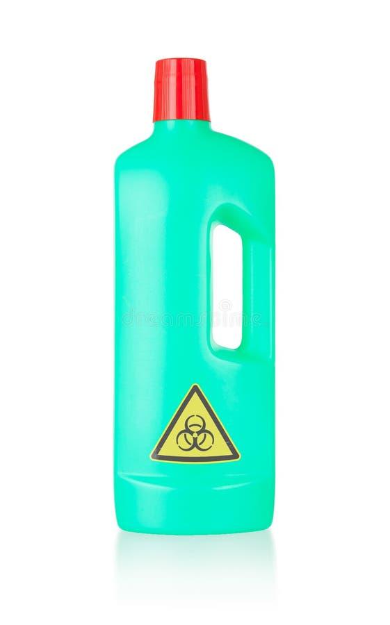 Plastic flessen schoon:maken-detergens, biohazard stock afbeelding