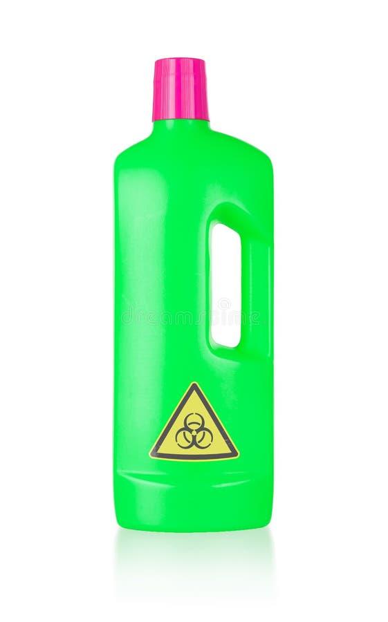 Plastic flessen schoon:maken-detergens, biohazard royalty-vrije stock fotografie