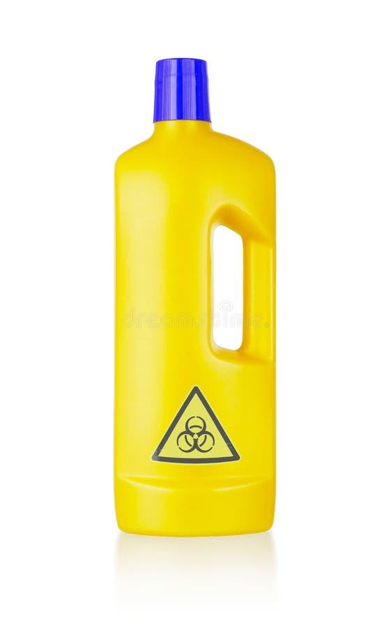Plastic flessen schoon:maken-detergens, biohazard royalty-vrije stock afbeeldingen