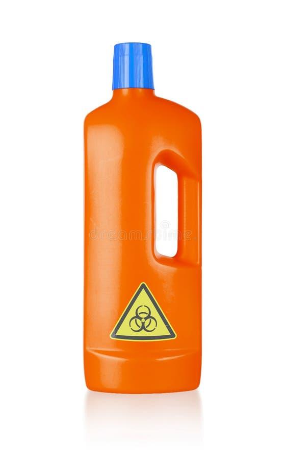 Plastic flessen schoon:maken-detergens, biohazard royalty-vrije stock foto's