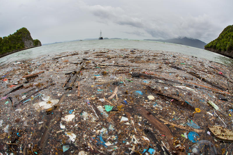 Plastic Floating Garbage in Raja Ampat stock photo