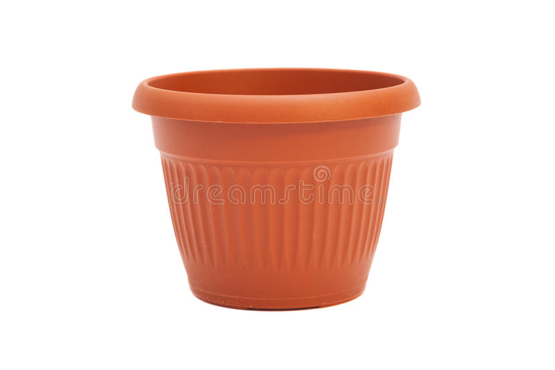Plastic flower pot isolated. On white royalty free stock image