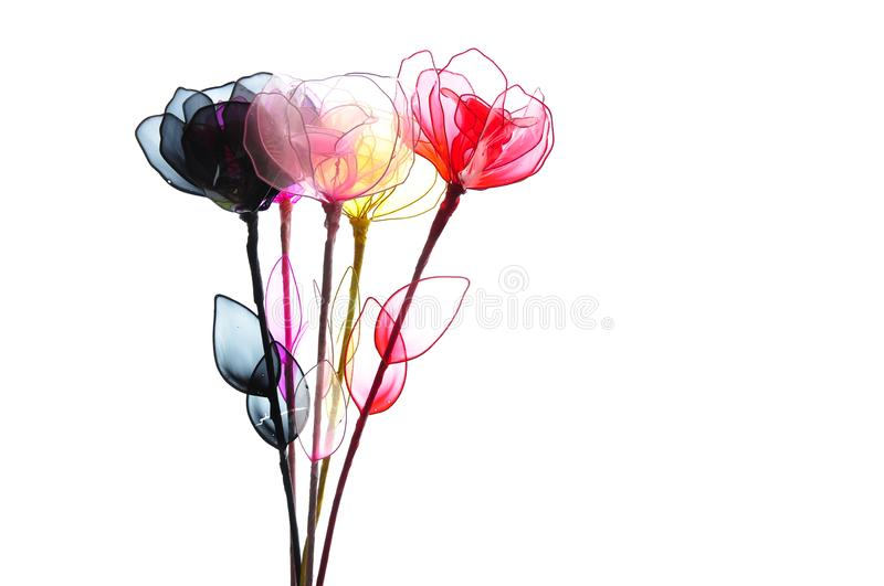 plastic flowers isolated white background royalty free stock photo