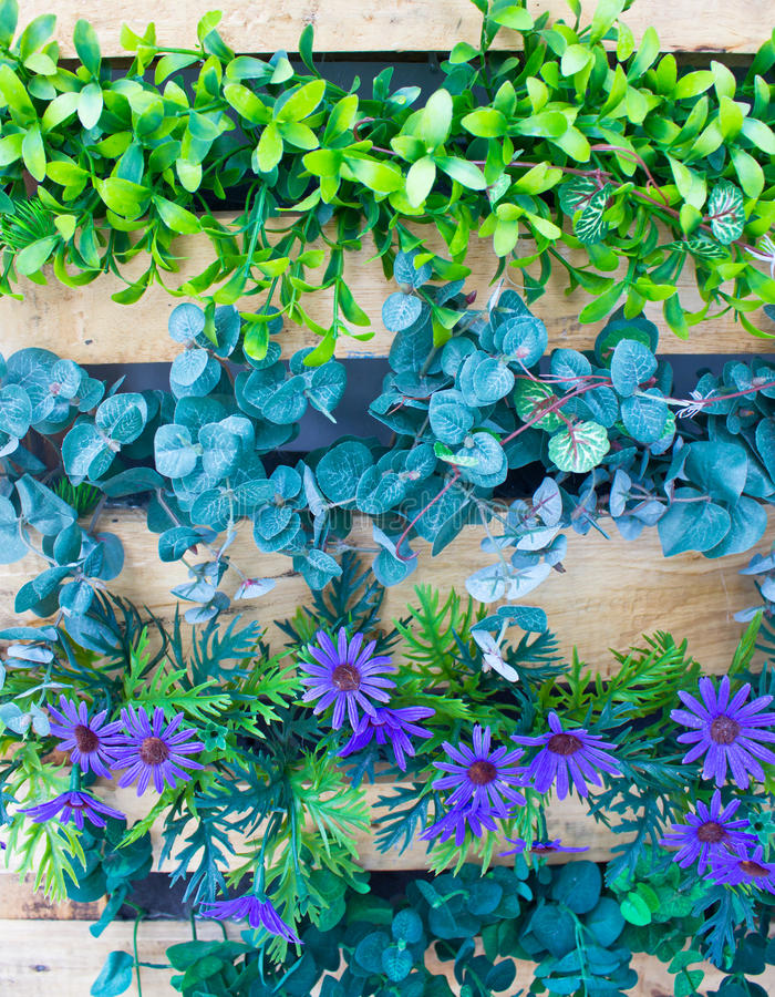 Download Plastic Flowers And Plants In Wooden Pot. Stock Image - Image of image, hedgerow: 34246177
