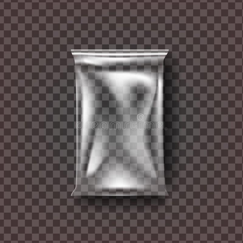 Plastic Food Bag Vector. Transparent Pillow Food Bag Wrap. Empty Product Polyethylene Mock Up Template. Nylon Doy Pack. Branding Package Illustration vector illustration