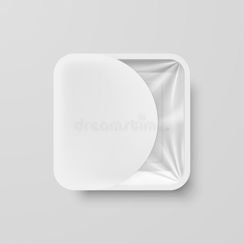 Plastic Food Container. Empty White Plastic Food Square Container with White Label on Gray vector illustration