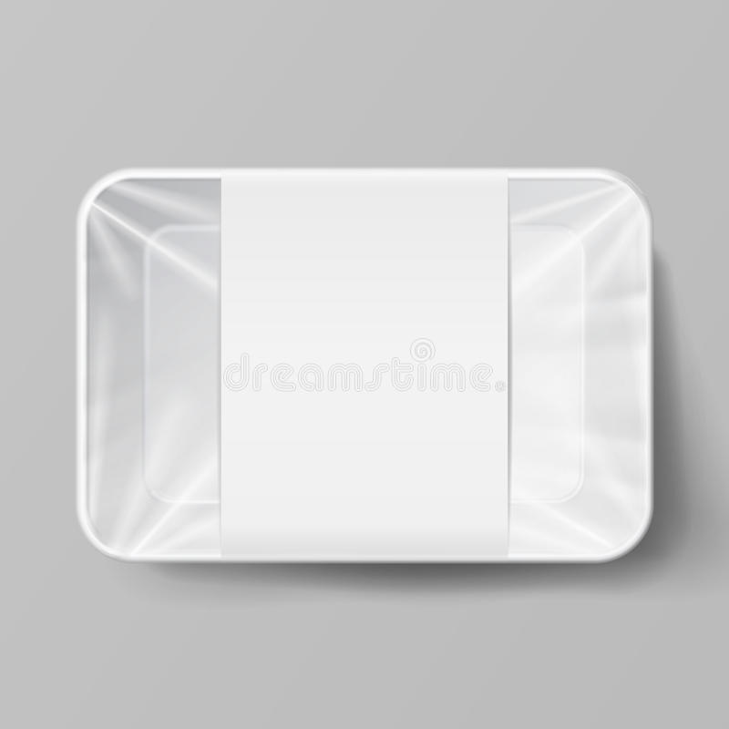 Plastic Food Container With Label. White Empty Blank Styrofoam Plastic Food Tray Container. Mock Up Template. Vector Realistic Ill stock illustration