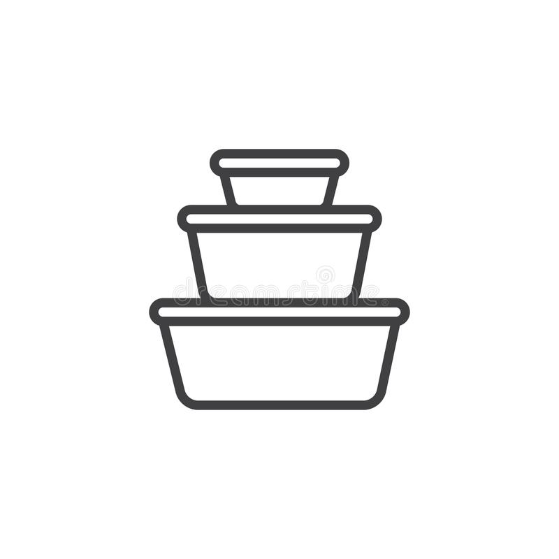 Plastic food containers outline icon. Linear style sign for mobile concept and web design. Cookware pots line vector icon. Symbol, logo illustration. Pixel stock illustration