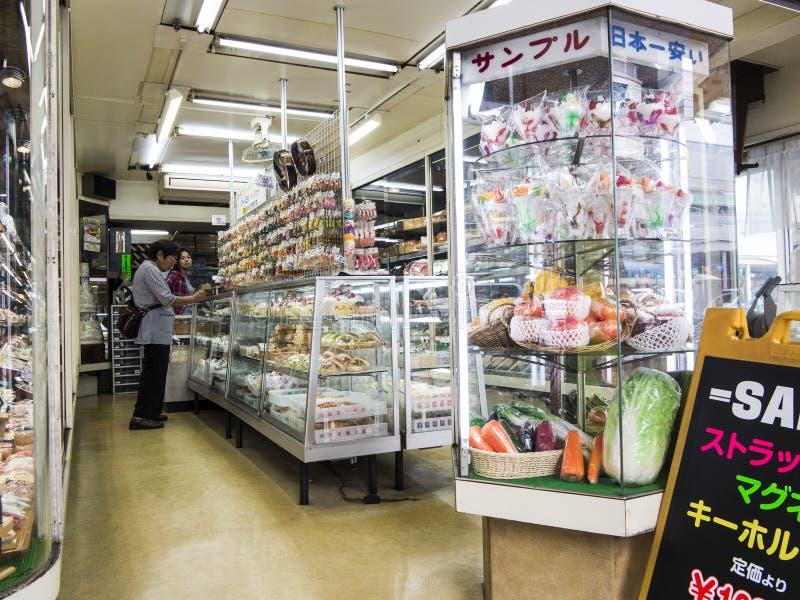 Plastic food models in Asakusa stock image