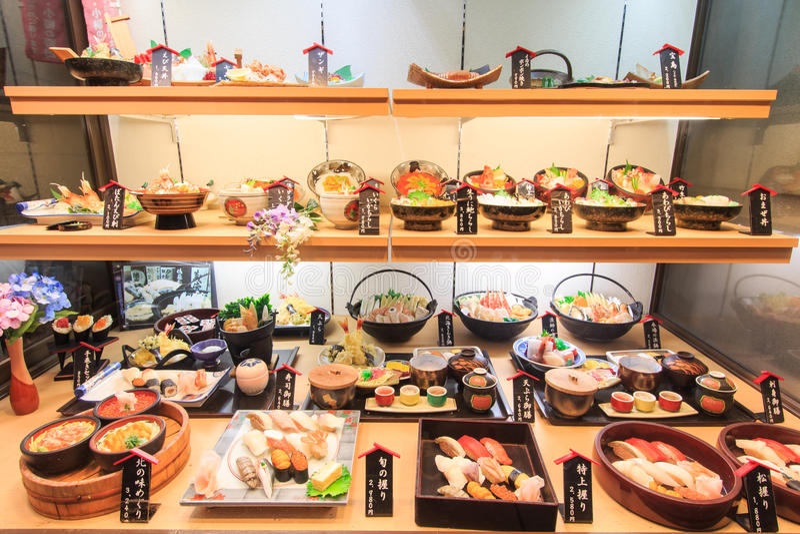 Plastic food replica of sushi in a restaurant of Otaru stock photos