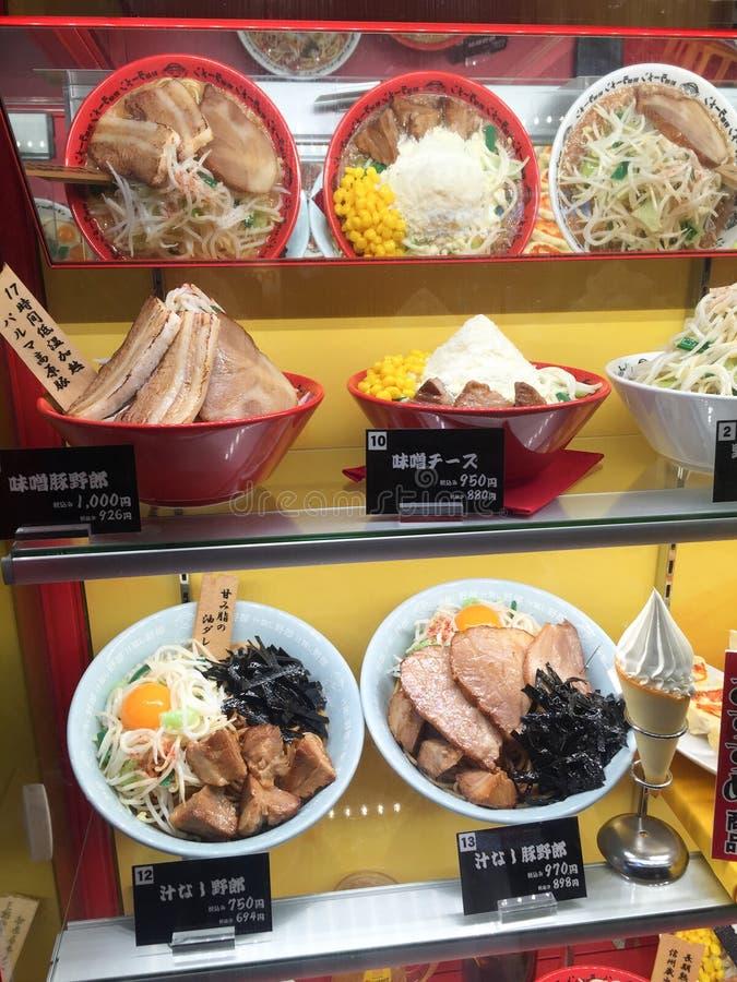 Plastic foods at Kappabashi dori in Asakusa, Tokyo royalty free stock photos