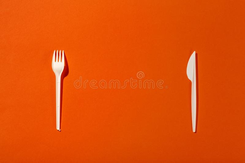 Plastic fork and knife stock photos