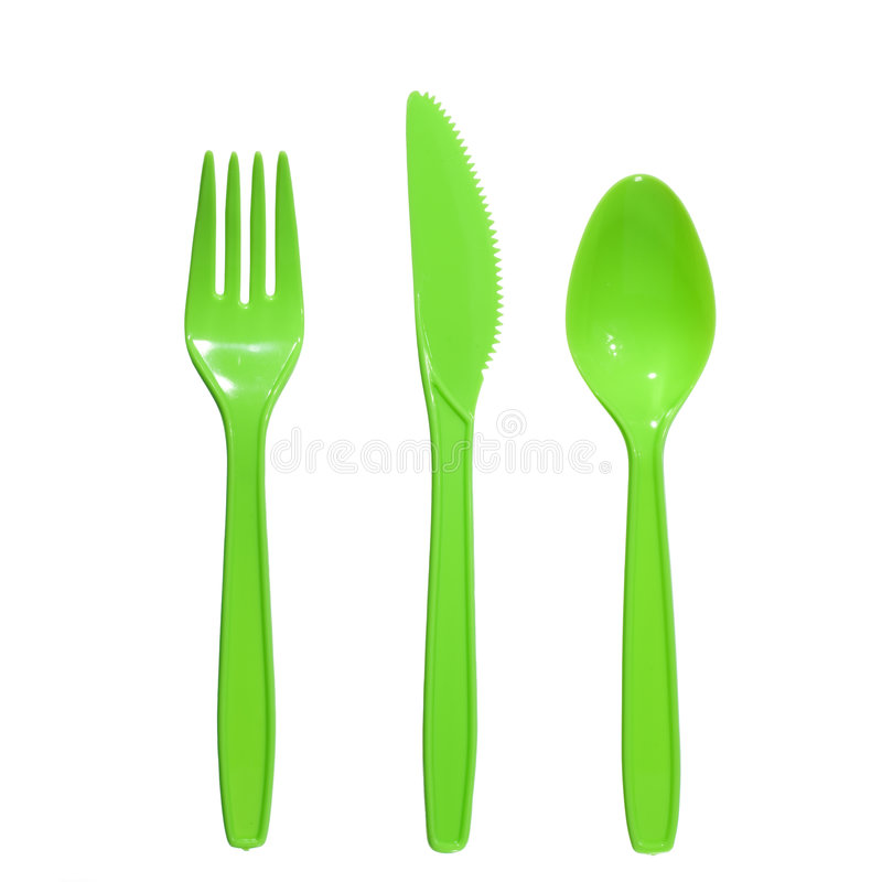 Plastic fork knife spoon royalty free stock image