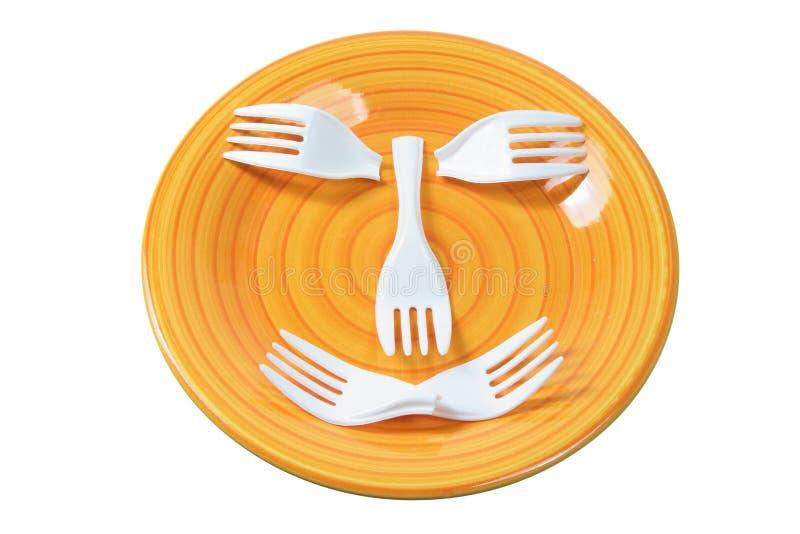 Download Plastic Forks on Plate stock image. Image of ceramic - 21303797
