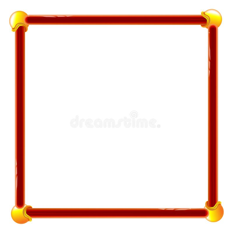 Plastic frame red for wall vector backdrop design. Toy volumetric. Edging for photos and presentations illustration royalty free illustration