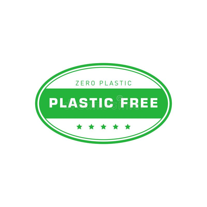 Free Plastic Free Green Oval Sticker. Zero Plastic. Eco Friendly Concept Design Element. Vector Illustration. Royalty Free Stock Photos - 169480798