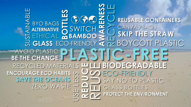 Plastic Free related words animated text word cloud. On clean beach background royalty free stock photo