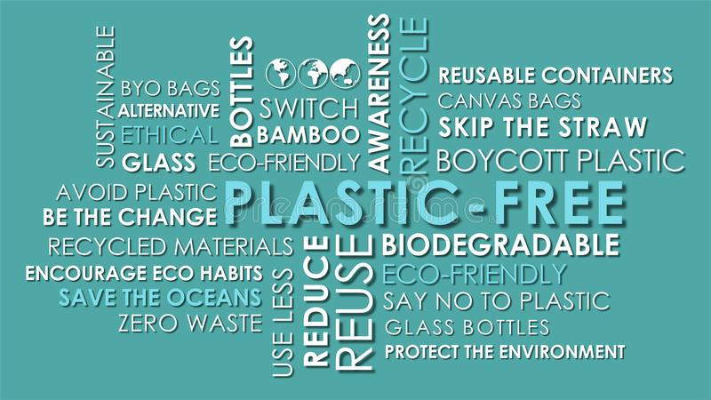 Plastic Free related words animated text word cloud. On light teal blue background royalty free stock photography