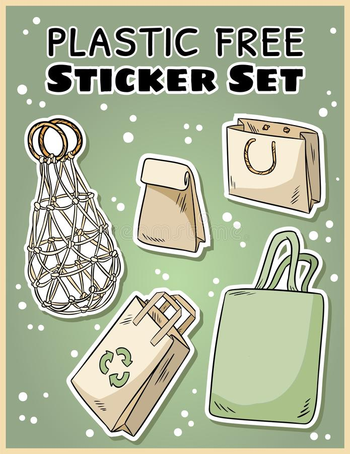 Plastic free sticker set. Ecological and zero-waste collection of labels. Go green living. Plastic free sticker set. Ecological and zero-waste collection of royalty free illustration