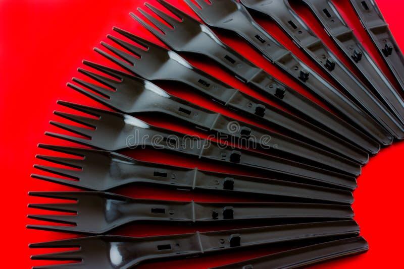Plastic gafflar fotografering för bildbyråer