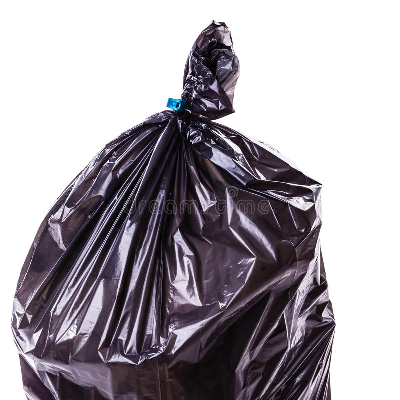 Plastic garbage bag detail stock photo