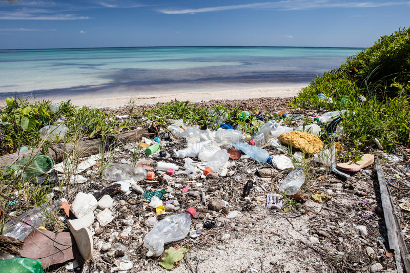 Plastic Garbage on Caribbean Beach royalty free stock photo