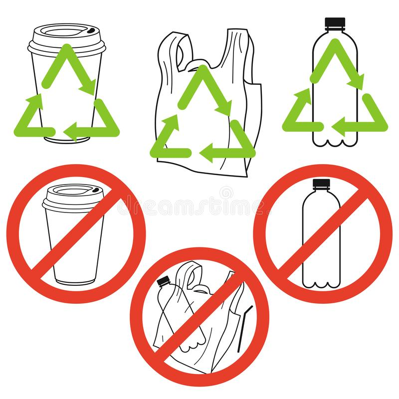 Plastic garbage: a cup, a bag, a bottle, forbidden and recyclable. Vector illustration. Plastic garbage on white background. Vector illustration vector illustration