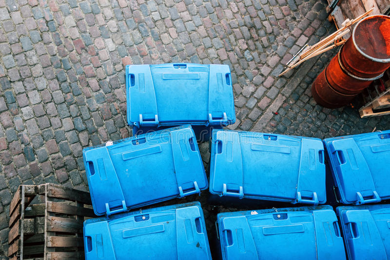 Plastic garbage dumspter containers from above stock photo