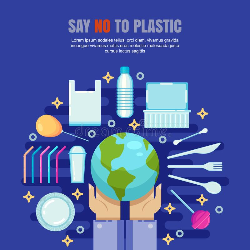 Plastic garbage pollution concept. Say No to plastic flat illustration. Ecology and environmental problem banner, poster royalty free illustration